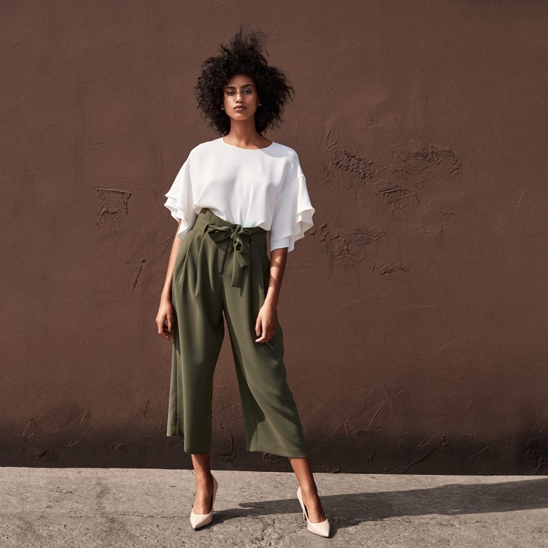 H&M Flounce-Sleeved Top, Wide-Cut Pants and Pumps