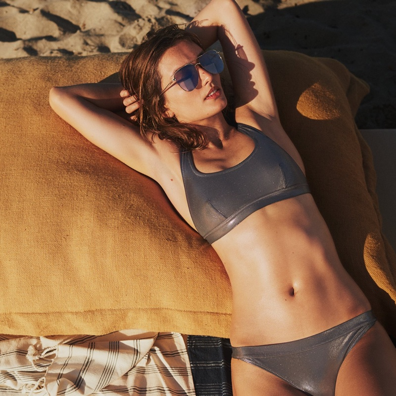 H&M Metallic Bikini Top and Cheeky Bikini Bottoms
