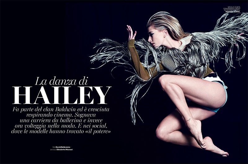 Hailey Baldwin Shows Off the Spring Collections in Marie Claire Italy