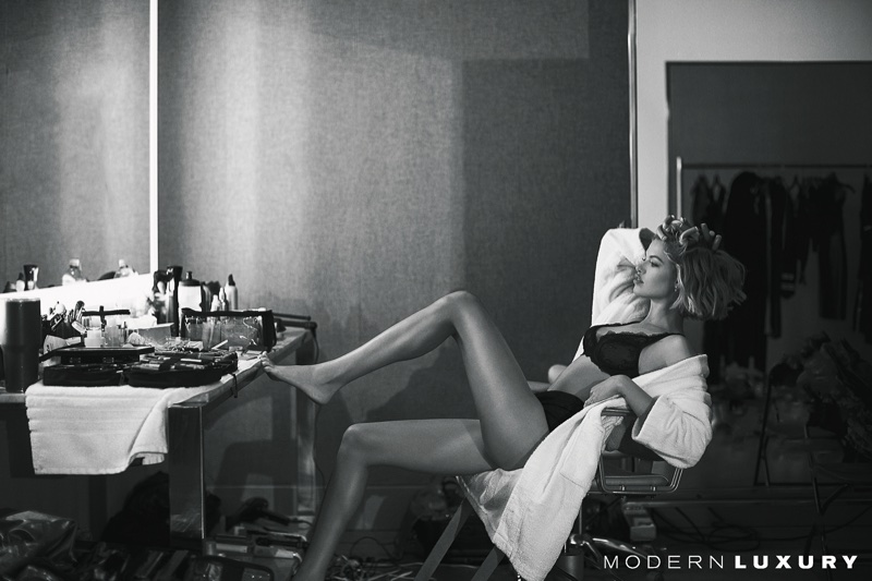 Kicking up her heels, Hailey Clauson wears Claudette bra and Dolce & Gabbana panty