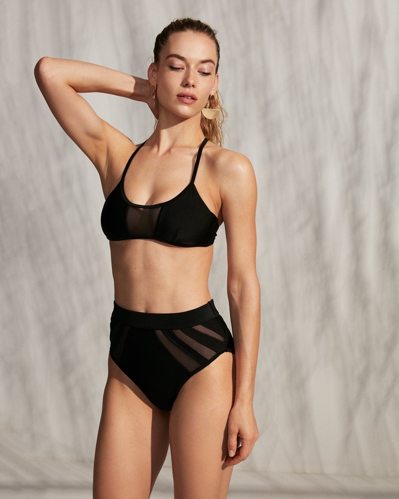 Express Mesh Front Bikini Swim Top and High-Waisted Mesh Cut-Out Bikini Swim Bottoms