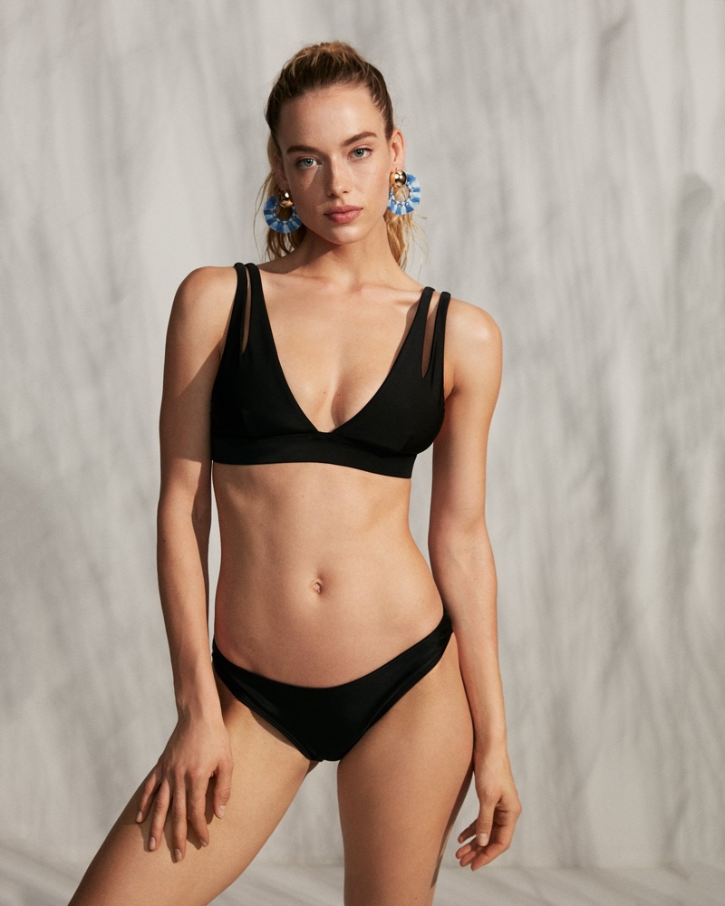 7ba40a261bd7b ... Express Cut-Out V-Neck Bikini Swim top and Low Rise Basic Bikini Bottoms
