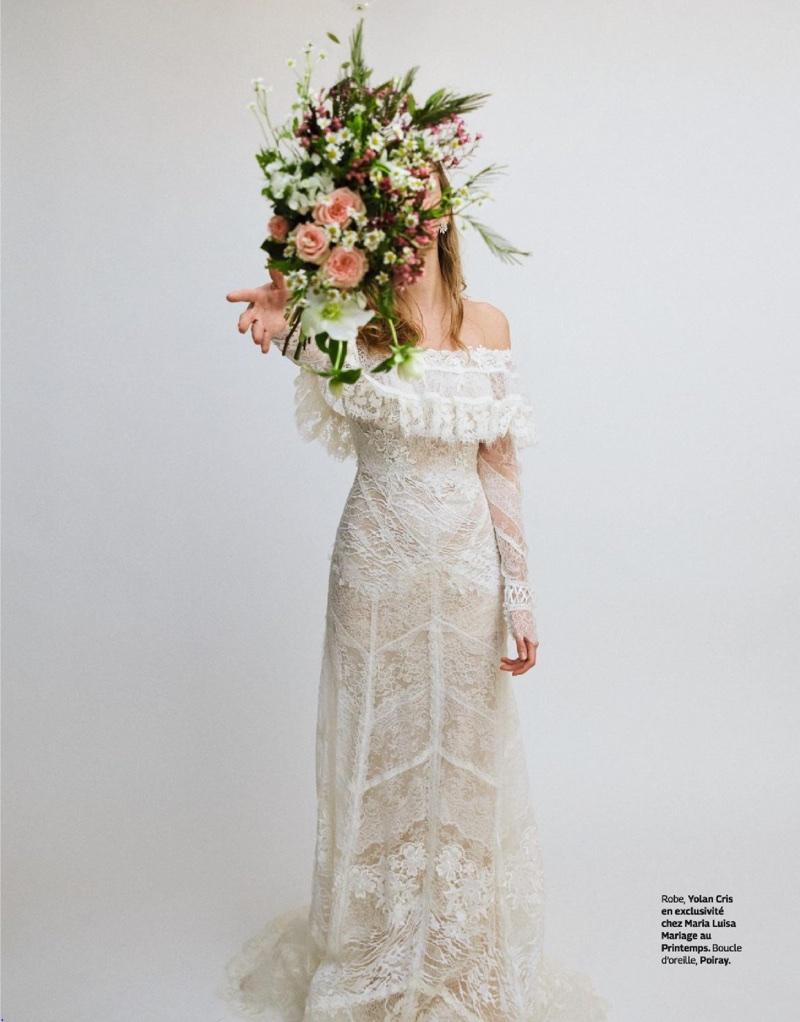 Hanne van Ooij Models Unconventional Wedding Looks for Grazia France