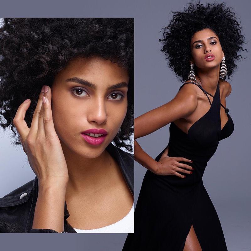 Model Imaan Hammam wears bold lipstick for Revlon campaign
