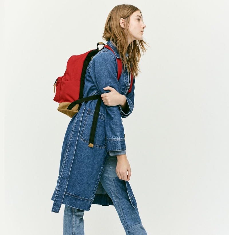 J. Crew Denim Duster Jacket, Selvedge Chambray Shirt and Point Sur Relaxed Shoreditch Straight Jean with Patches