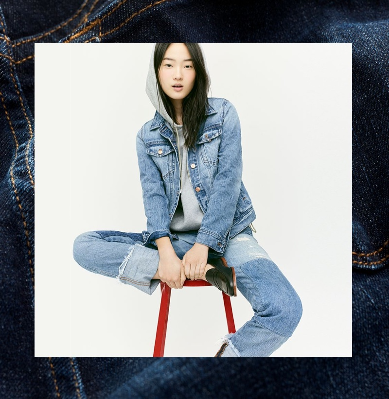 J. Crew Classic Denim Jacket, Cropped Hoodie and Shoreditch Straight Jean with Patches