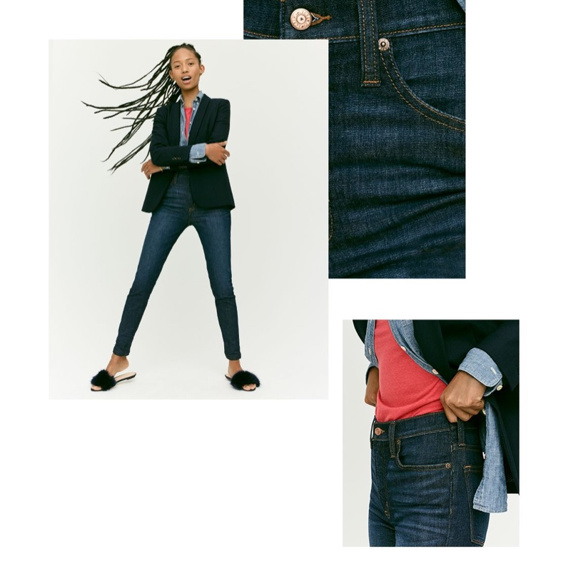 "J. Crew Parke Blazer, 9"" High-Rise Toothpick Jean in Solano Wash and Faux-Fur Slide Sandals"