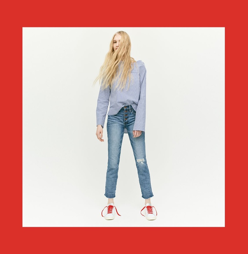 J. Crew Funnelneck Striped Shirt, Vintage Straight Jean in Reed Wash with Button Fly and New Balance for J. Crew 791 Leather Court Shoe