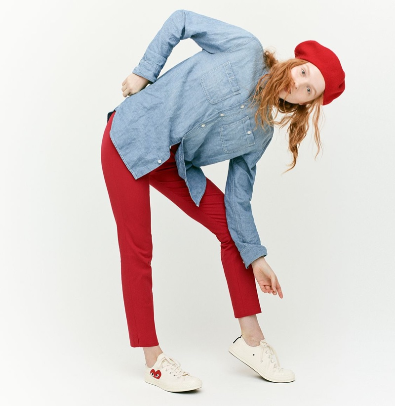 J. Crew Chambray Tunic, Martie Slim Crop Pant Two-Way Stretch Cotton, Italian Wool Beret and Comme des Garçons for Converse Low-Top Sneakers