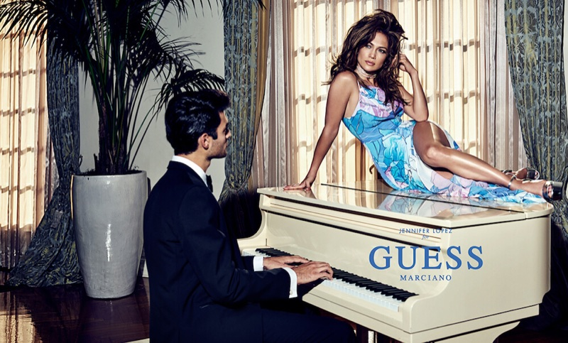 An image from Guess spring 2018 advertising campaign with Jennifer Lopez