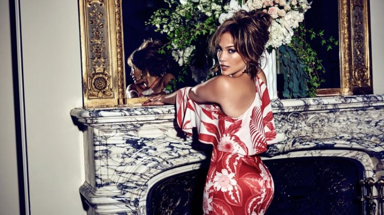 Jennifer Lopez wears red printed dress for Guess' spring-summer 2018 campaign