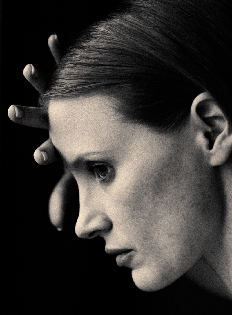 Ready for her closeup, Jessica Chastain poses in this black and white shot