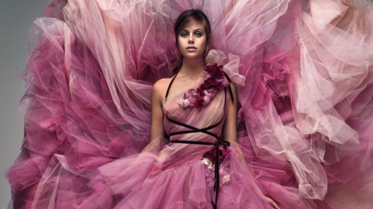Jessica Clarke Poses in Gorgeous Spring Gowns for Tatler UK