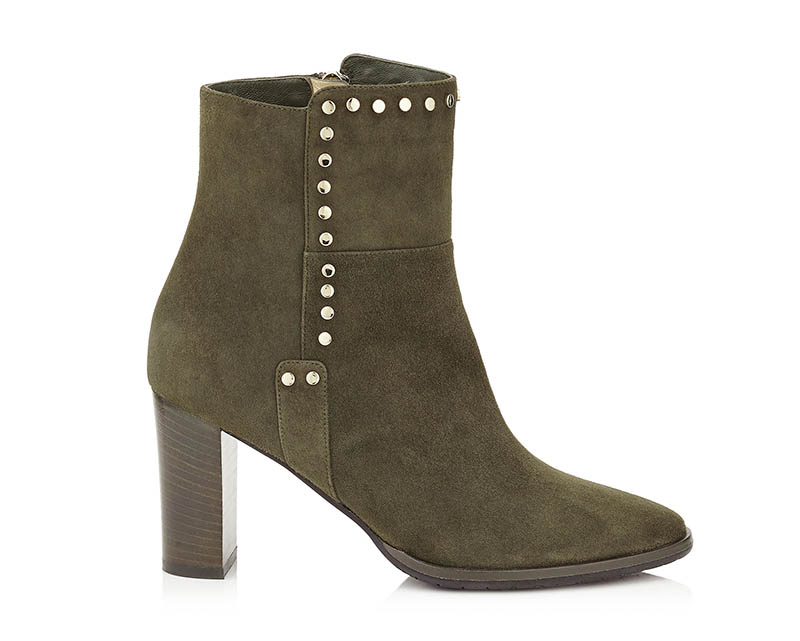 Jimmy Choo Harlow 80 Army Green Suede Boots with Stud Trim $598 (previously $1,195)