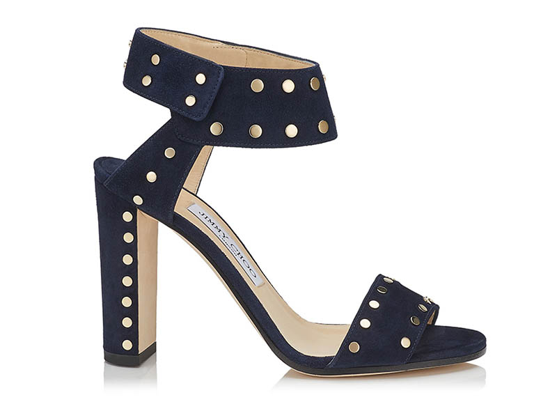 Jimmy Choo Veto 100 Navy Suede Sandals with Gold Studs $425 (previously $850)