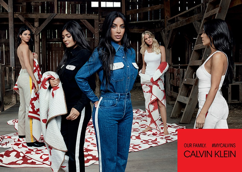 An image from Calvin Klein #MyCalvins advertising campaign starring the Kardashian and Jenner sisters