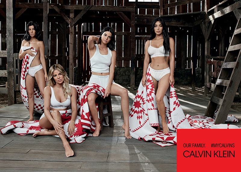 Kourtney, Khloe and Kim Kardashian pose with Kendall Jenner for Calvin Klein campaign