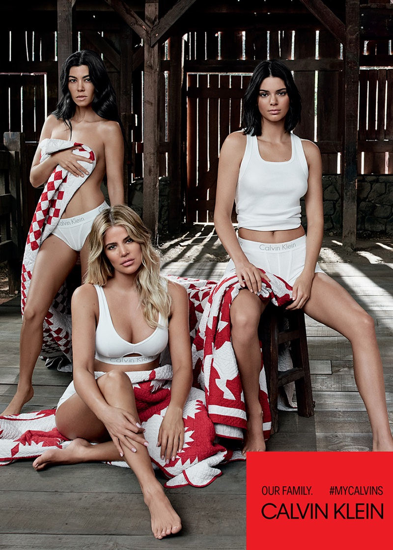 Kourtney and Khloe Kardashian pose with sister Kendall Jenner for Calvin Klein campaign