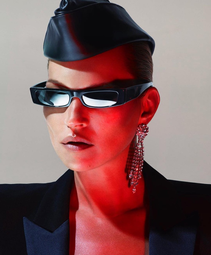 Supermodel Kate Moss poses in Alain Mikli x Alexandre Vauthier sunglasses campaign