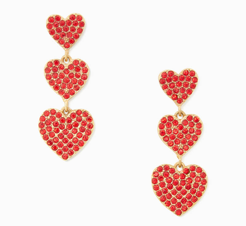 Kate Spade Yours Truly Pave Heart Triple Drop Earrings $78
