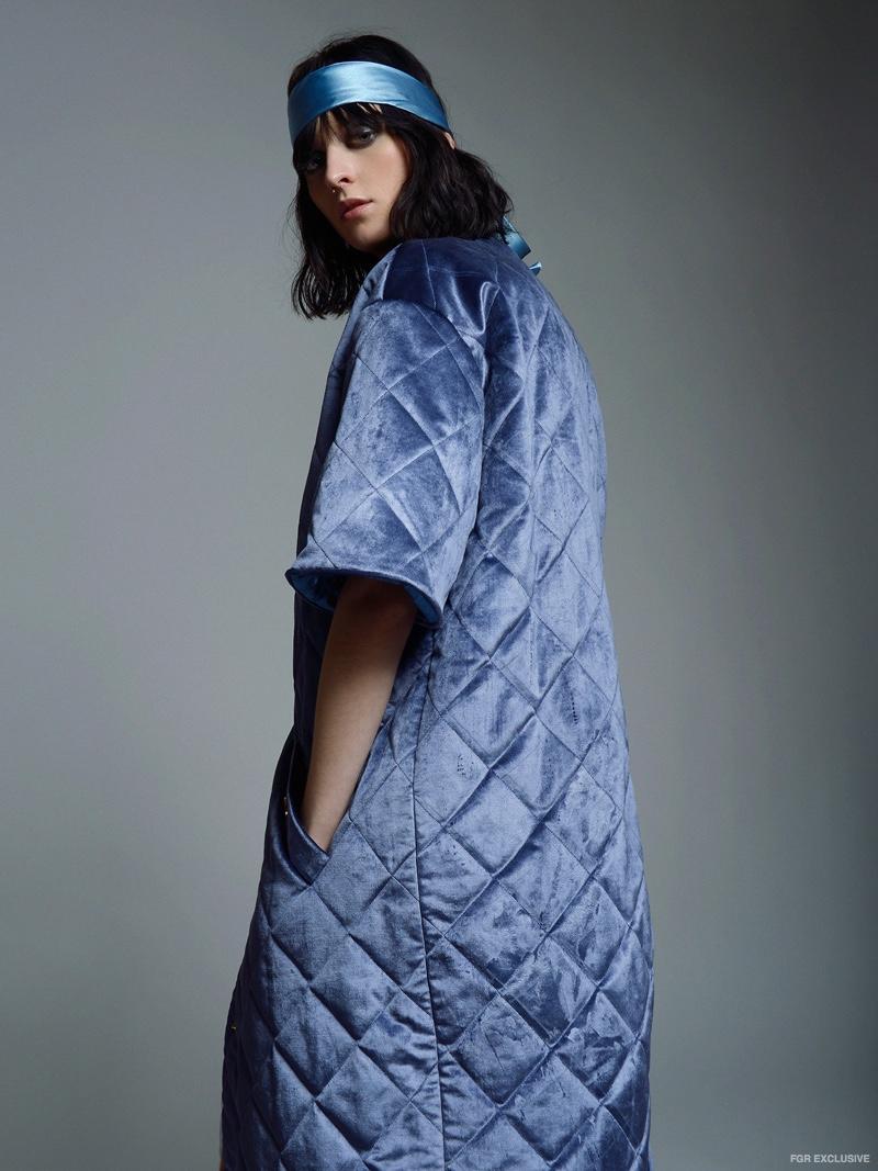 Tatman Blue Velvet Quilted Coat