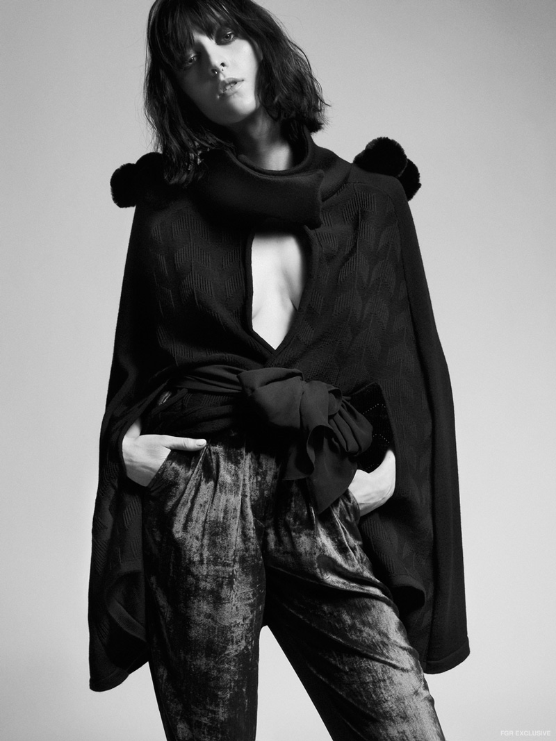 Maaike Black Cape and Tatman Velvet Pants