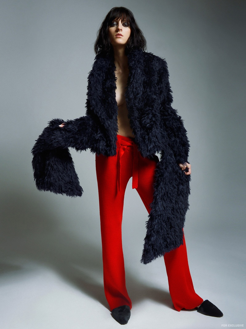 Cliche Navy Fur Coat and  Korsun Red Knit Pants