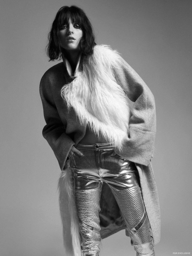 Weannabe Coat and Daniel Silverstain Metallic Pants