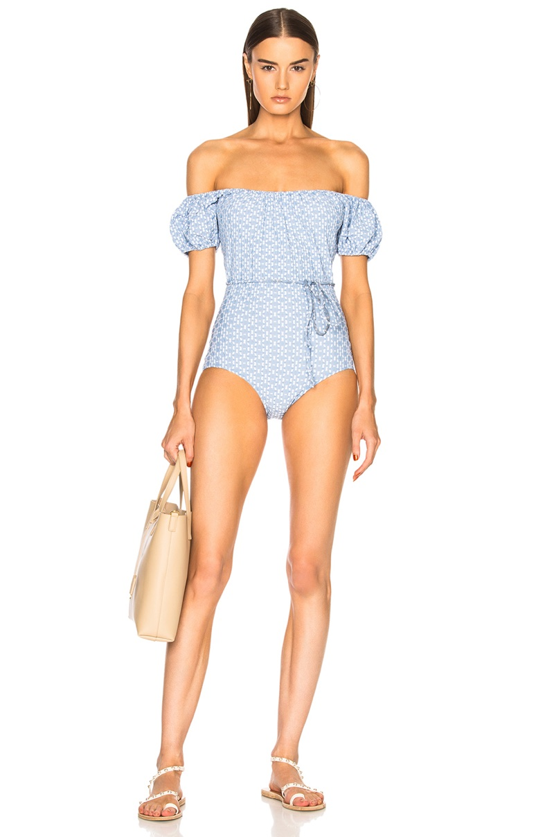 Lisa Marie Fernandez Leandra Two Tone Swimsuit $395