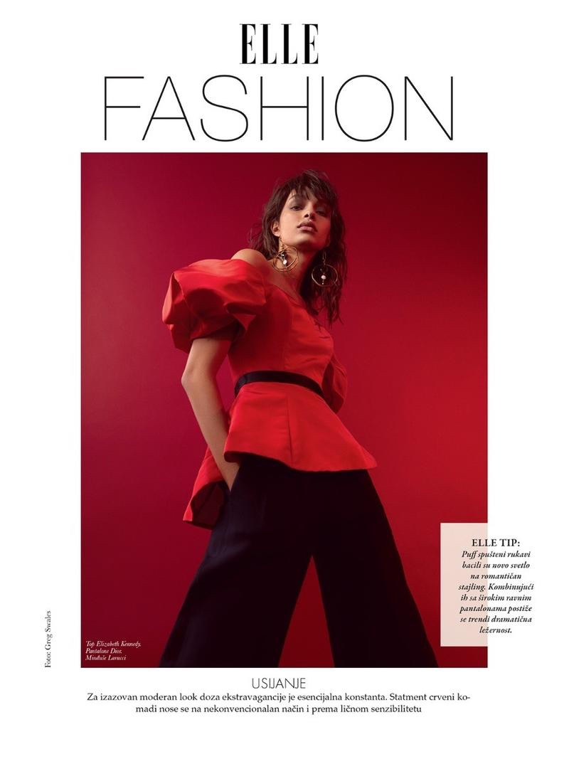 Luma Grothe Takes On Red-Hot Fashions for ELLE Serbia