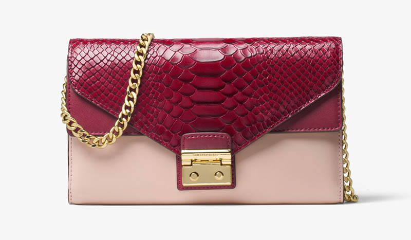 MICHAEL Michael Kors Sloan Color-Block Leather Chain Wallet $136.80 (previously $228)