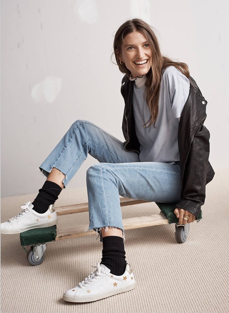 Madewell Washed Leather Motorcycle Jacket, Ribbed Turtleneck Top, Button-Back Tie Tee in Stripe, Cruiser Straight Jeans: Reconstructed Edition and Madewell x Veja Esplar Low Sneakers
