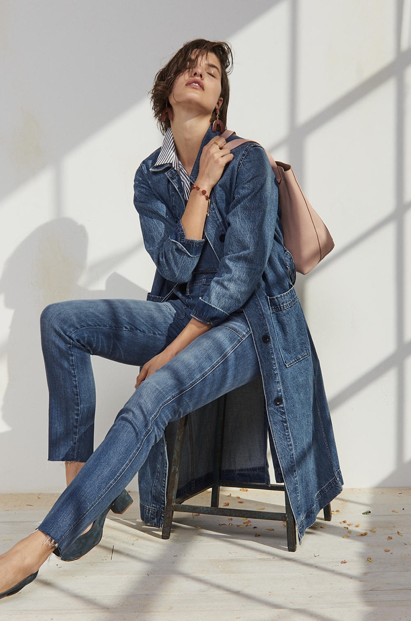 Madewell Denim Duster Coat, Central Shirt in Gabriel Stripe, Skinny Overalls in Kemp Wash, Shapes Statement Earrings, The Medium Transport Tote and The Raquel Pump in Suede
