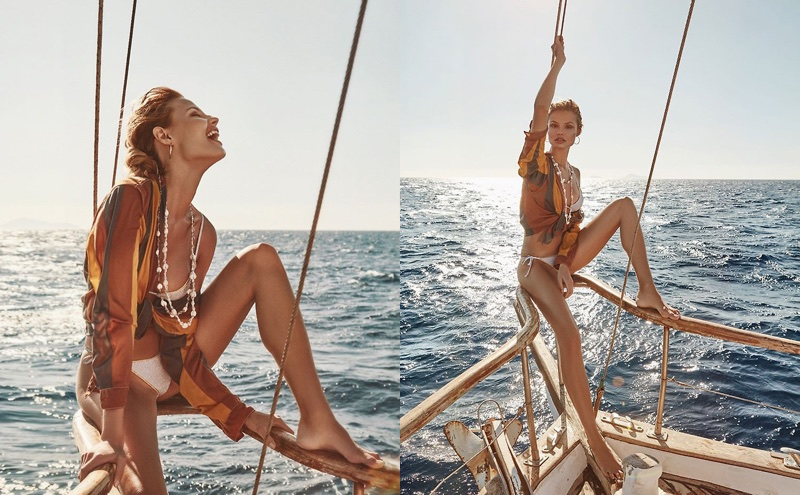 Posing on a boat, Magdalena Frackowiak models for Bikini Lovers