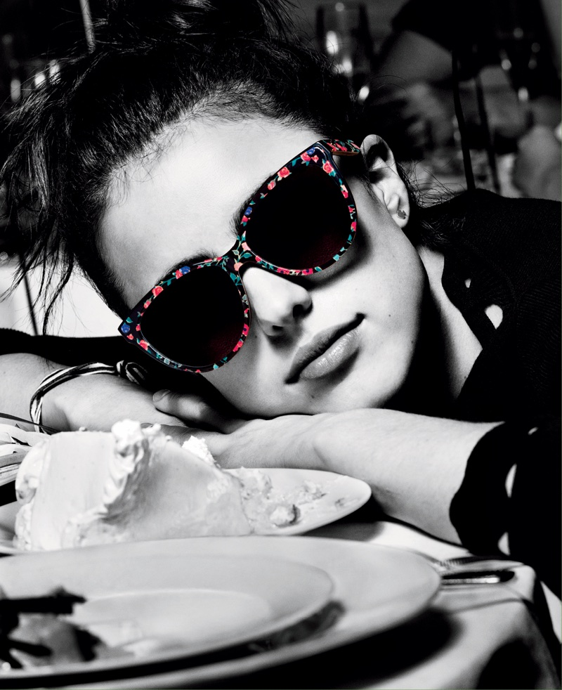Margaret Qualley models sunglasses for Kate Spade's spring-summer 2018 campaign