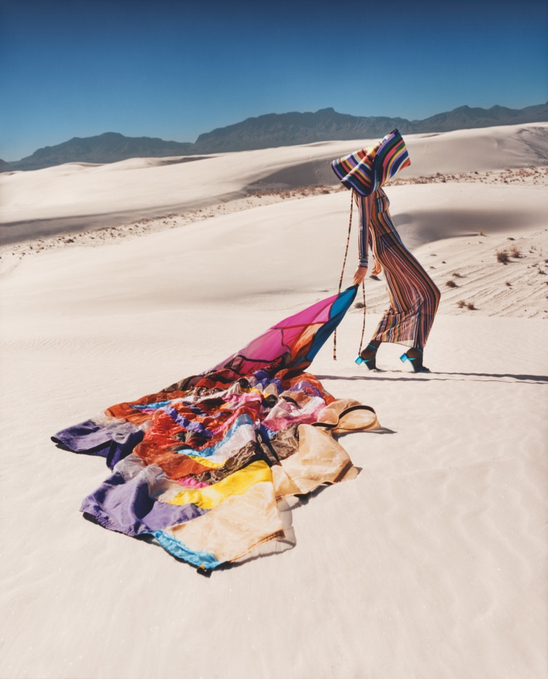 Kendall Jenner poses in New Mexico for Missoni's spring-summer 2018 campaign