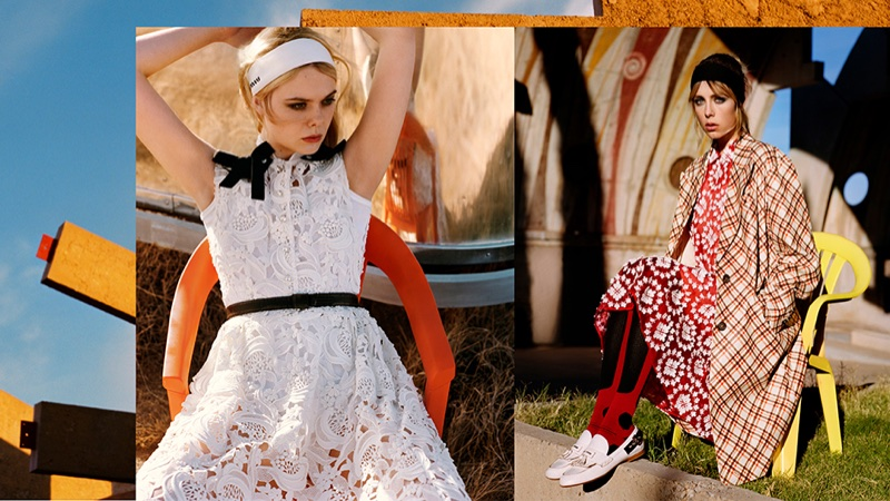 Elle Fanning and Edie Campbell appears in Miu Miu's spring-summer 2018 campaign