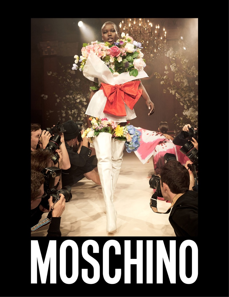 Adut Akech Bior poses in Moschino's spring-summer 2018 campaign