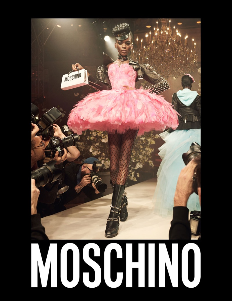 Aube Jolicoeur looks pretty in pink for Moschino's spring-summer 2018 campaign