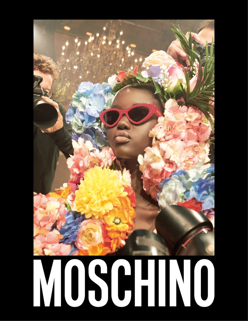 Moschino focuses on eyewear with model Adut Akech Bior for spring-summer 2018 campaign