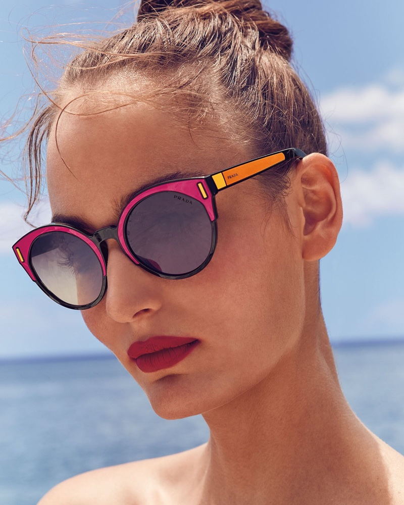 Prada Round Colorblock Mirrored Sunglasses