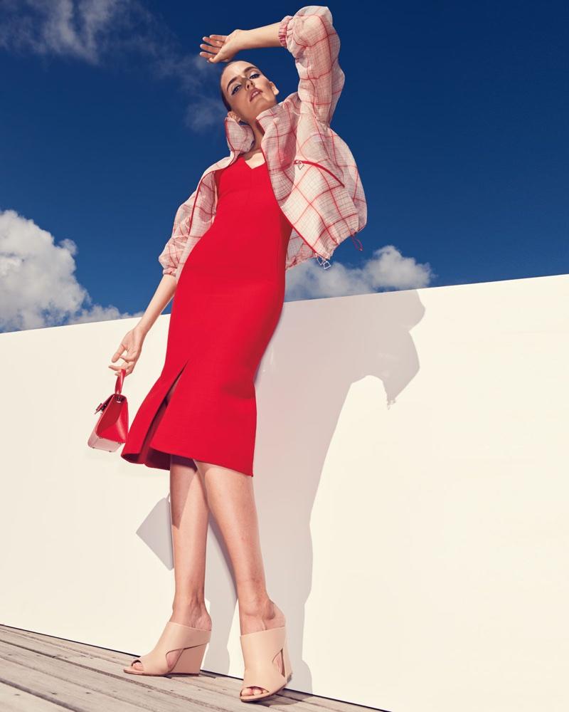 Akris Pantheon Organza Grid Jacquard Parka Jacket and V-Neck Sleeveless Wool-Silk Midi Dress
