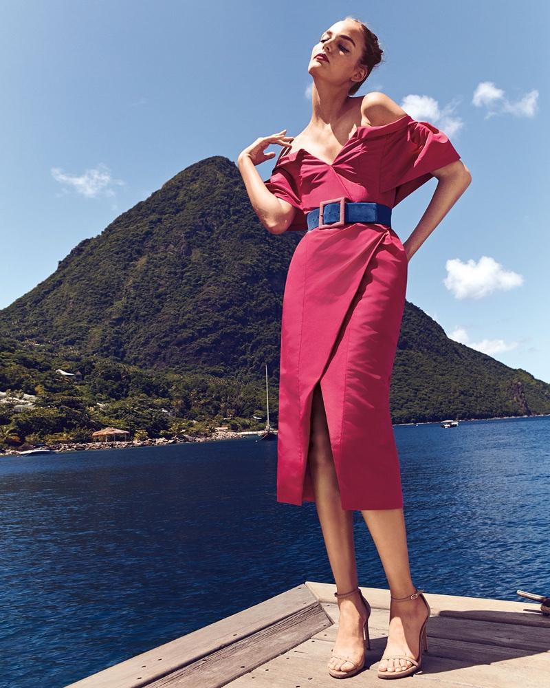 Carolina Herrera Off-the-Shoulder V-Neck Faux-Wrap Dress and Square-Buckle Lamb Suede Belt