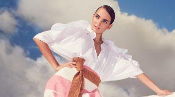 Johanna Ortiz Bandelier Ruffle-Sleeve Poplin Blouse Bodysuit and Long Western Stripe Tiered Linen Skirt