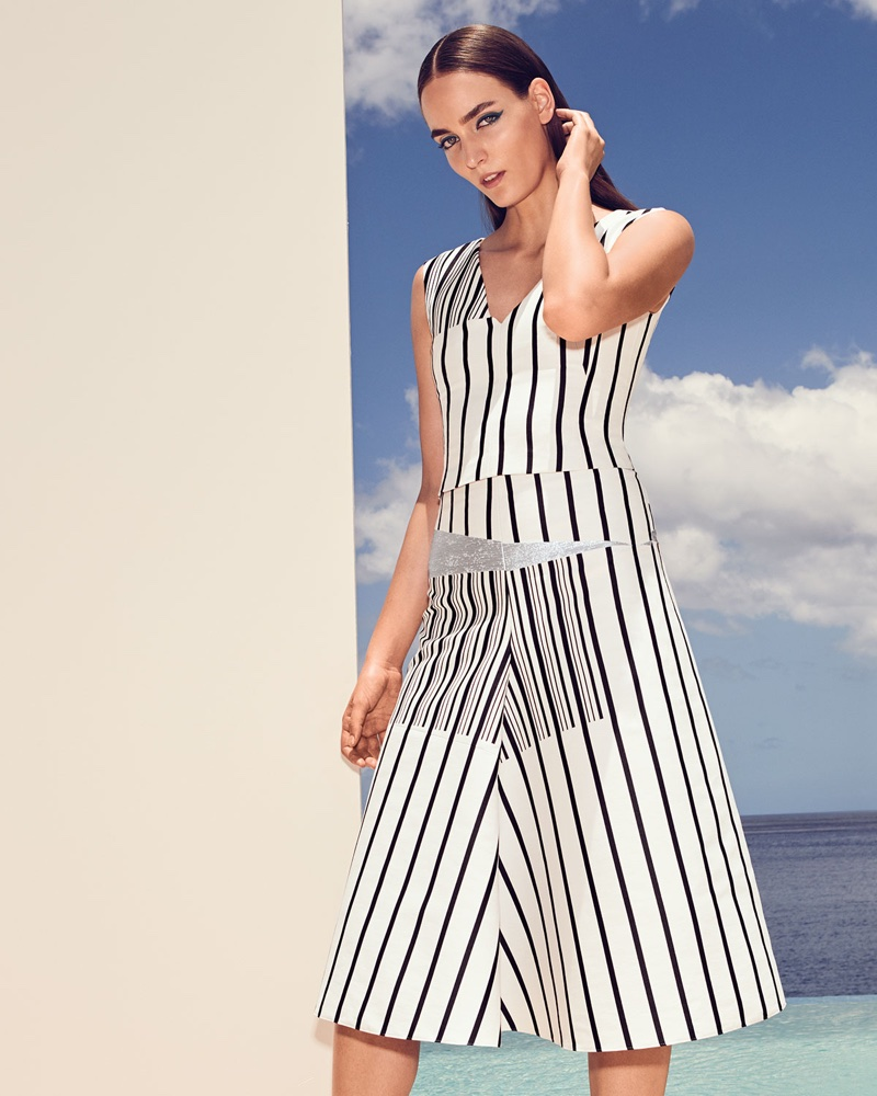 Akris V-Neck Sleeveless Irregular-Stripe Cotton Canvas Top and Structured A-Line Striped Cotton Canvas Midi Skirt