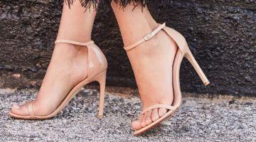 Stuart Weitzman Nudistsong Patent Ankle-Wrap Sandal $398