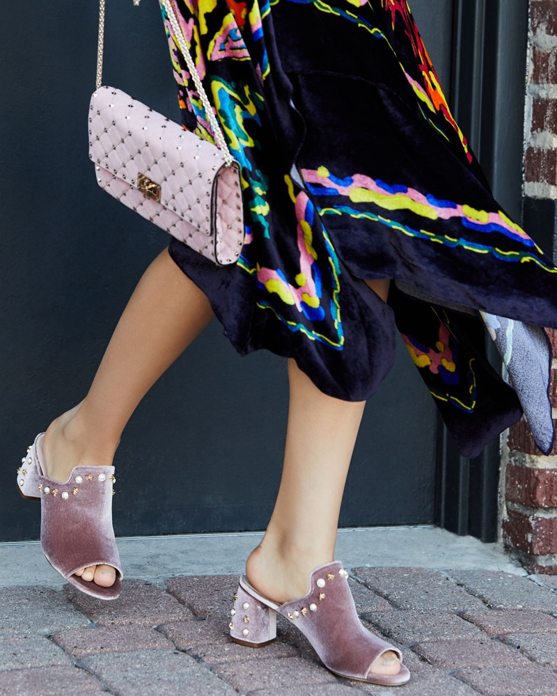 Stuart Weitzman Dohickey Embellished Velvet Mule Sandal $498