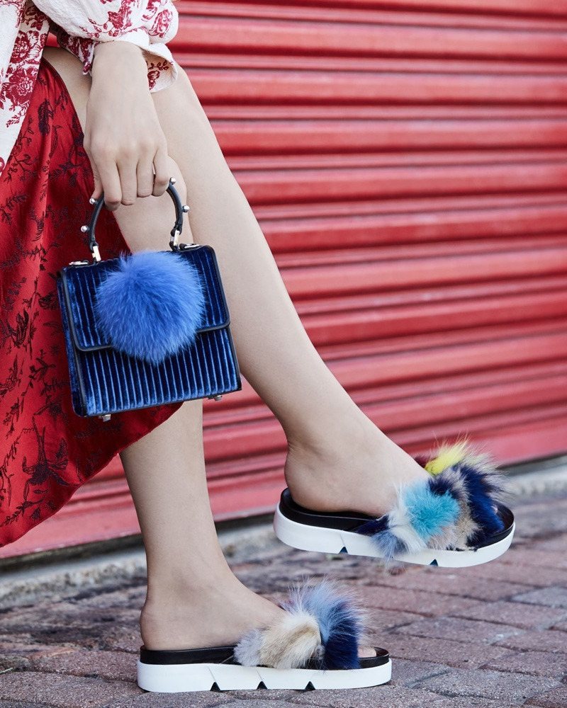 Stuart Weitzman Sublime Flat Fox Fur Slide Sandal $498