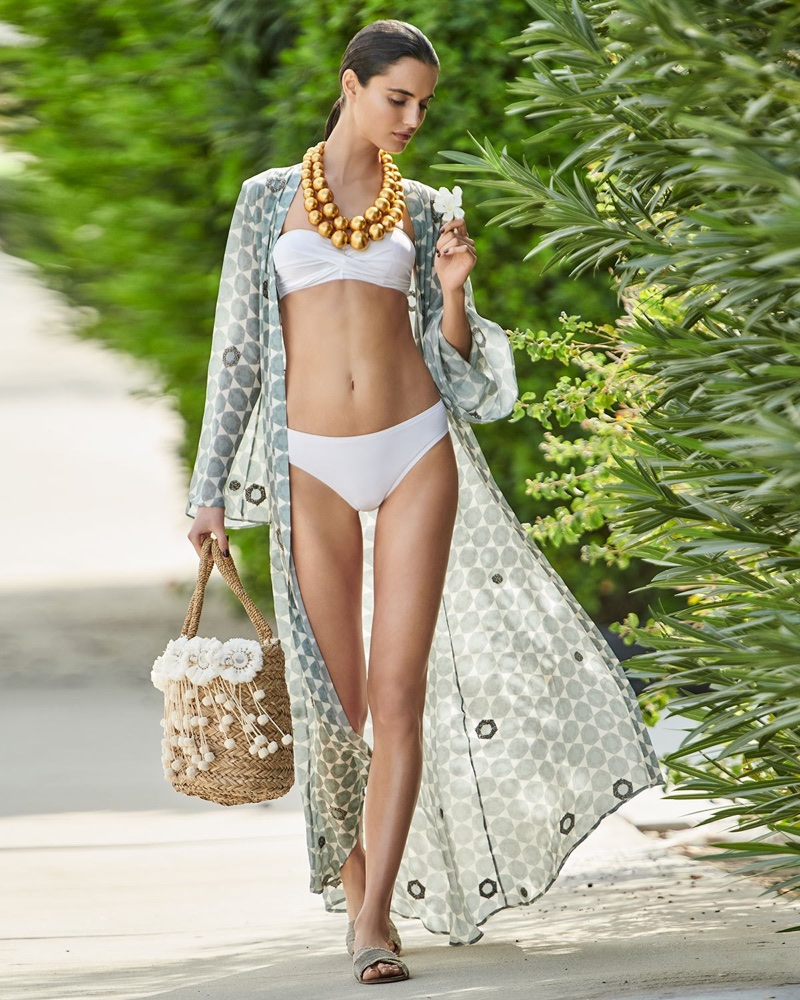 Verandah Open-Front Long-Sleeve Hand-Beaded Caftan Coverup, Viktoria Hayman Beaded Double-Strand Necklace and Flora Bella Kailua Straw Beach Tote Bag with Fringe & Pompom Trim
