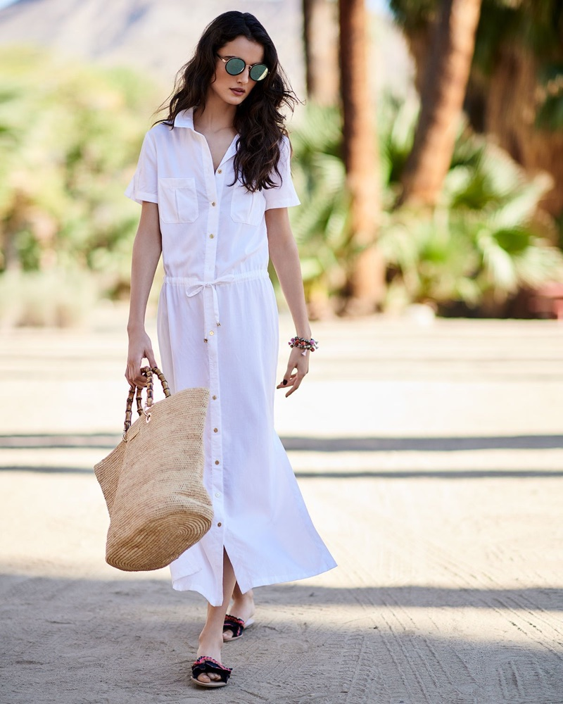 Heidi Klein Maine Maxi Shirtdress Coverup and Sunday Somewhere Ned Round Sunglasses